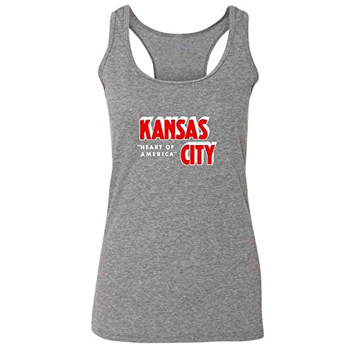 (Kansas City Heart of America Retro Vintage Travel Heather Charcoal 2XL Womens Tank Top)