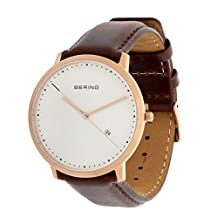 BERING Time Men's Classic Collection Watch with Leather Band and scratch resistant sapphire crystal. Designed in Denmark. 11139-564 by Bering