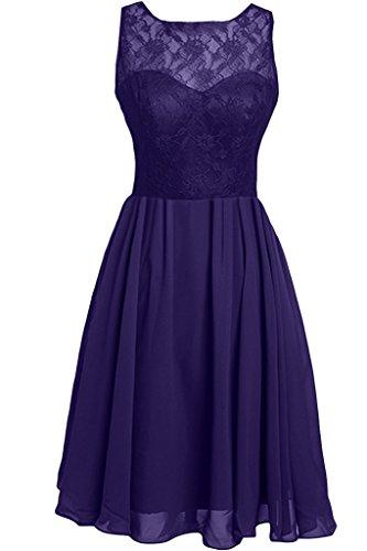 Violett Rundkragen amp;Spitze Damen A Festkleid Chiffon Abendkleid Linie Zaertlich Ivydressing Partykleid qEvFUY