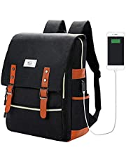 College Bag Fits up to 15.6'' Laptop Casual Rucksack Waterproof School Backpack Daypacks with USB Unisex(Black)