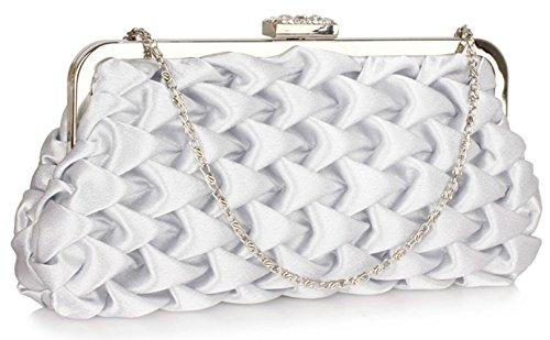 Clutch CWE00139 Bridesmaid Designer Bridal's Silver Folds Purse Bags Bag Wave Handbags Women's Evening CWE0047 Small wIEfvq