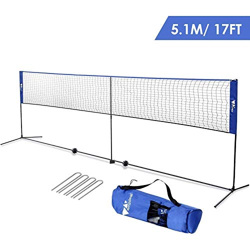 amzdeal Badminton Net 17ft / 5.1m Kids Tennis Net Portable Net for Badminton, Indoor/Outdoor Court, Backyard, with Steel Frame, Hooks, Adjustable Height (No Rackets)