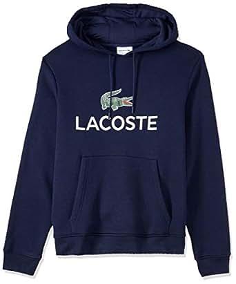 Lacoste Men's Hooded Logo Pullover, Navy Blue, 02F