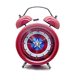 Maxspace Table Clock, Metal Non-Ticking 3in Small Mini Cute Cartoon Twin Bell Alarm Clock Battery Operated Desk Clock with Backlight & HD Glass, for Kids Decor Bedroom (Red)
