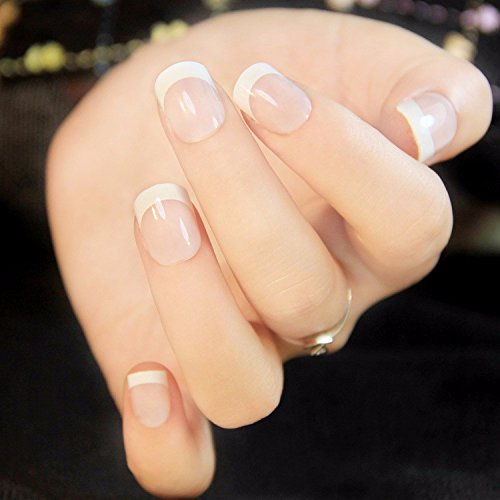 24Pcs 12 Different Size Natural French Short False Nails Acrylic Full Cover Nails with Simple Case (French Manicure Halloween Nails)