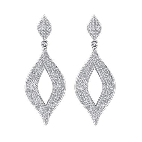 mecresh Geometric Dangle Earrings for Wedding, Classic Silver Cubic Zirconia Crystal Rhinestone Drop Earrings Pierced Austrian Style Hypoallergenic Earrings Women Bridal Jewelry
