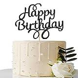 Black Glitter Happy Birthday Cake Topper, Birthday Party Decorations