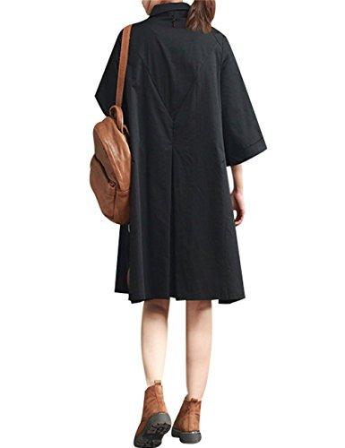 Col Boutonnée Youlee Blouse Noir Robe Chemise Femmes Polo qHZTxaw1C