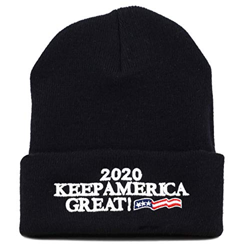 (THE HAT DEPOT Exclusive 3D Trump Skull Knit Beanie Cap 45th President Inauguration (USA-Black))