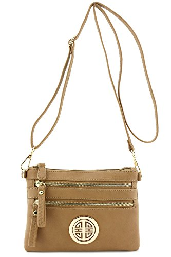 Pocket with Multi Wristlet Zipper Stone Bag Emblem Crossbody Small pwxqUg5xf