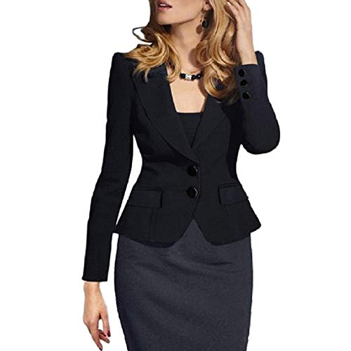 SEBOWEL Women's Casual Work Solid Long Sleeve Slim Fitted Office Blazer Suit Jacket Black M