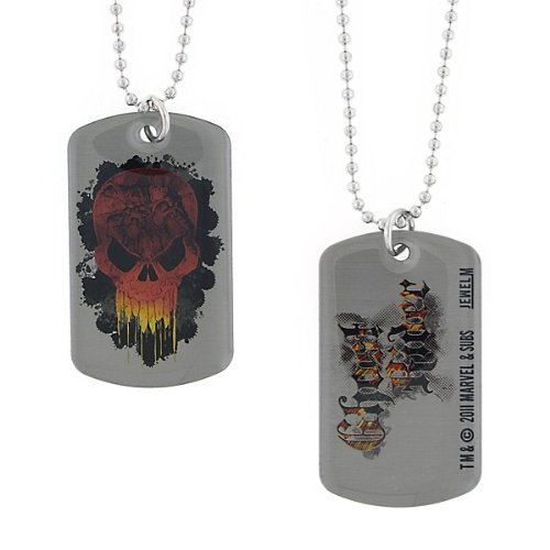 Marvel Comics Ghost Rider Skull Image Dog Tag Necklace 6006