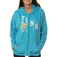 Disney Women's Tinker Bell Plush Fleece Full Zip Hoodie