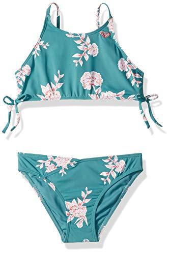 (Roxy Big Girls' Magical Crop Top Swim Set, Brittany Blue Sample Eglantine, 8 )