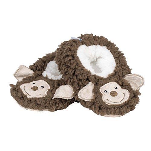 Snoozies Baby Sherpa Animal Non-Skid Slipper Socks- Monkey, Small (0/3 -