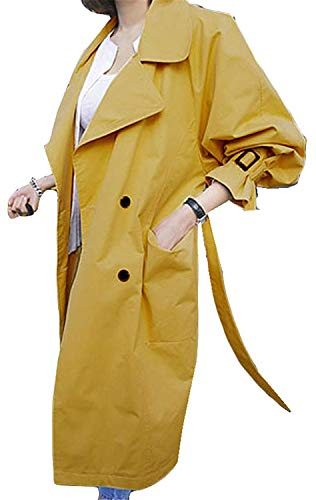 Trench Casuale Baggy Manica Outerwear Autunno Double Breasted Costume Cappotto Gelb Windbreaker Donna Fashion Lunga Eleganti Bavero Giacca Huixin Primaverile dx8fq1d6