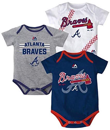 Atlanta Braves MLB Infant Three Strikes Bodysuit Set of 3 (18M)