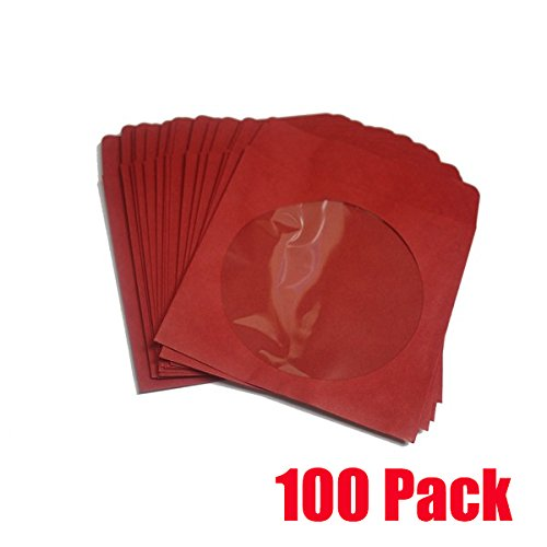 BestDuplicator - CDSLV-100-RD Premium Thick Red Paper CD/DVD Sleeves Envelope with Window Cut Out and Flap (Paper Cd Sleeve Piece 100)