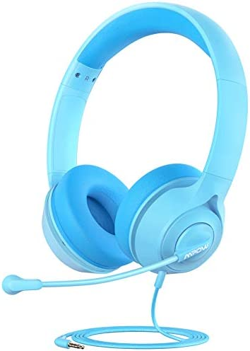 Mpow LH1 Kids Headphones with Microphone for Boys Girls, Kids Online Learning Headset with 94dB Volume Limit, Stereo Sound, 3.5mm Audio Jack for Smartphone, Tablet, Kindle, PC, School, Travel