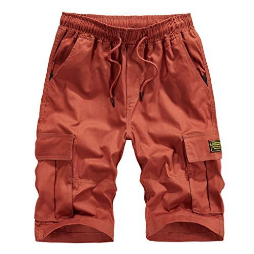 Alalaso Mens Cargo Shorts, Mens Cargo Shorts Relaxed Fit Multi-Pocket Outdoor Waist Drawstring Shorts Orange