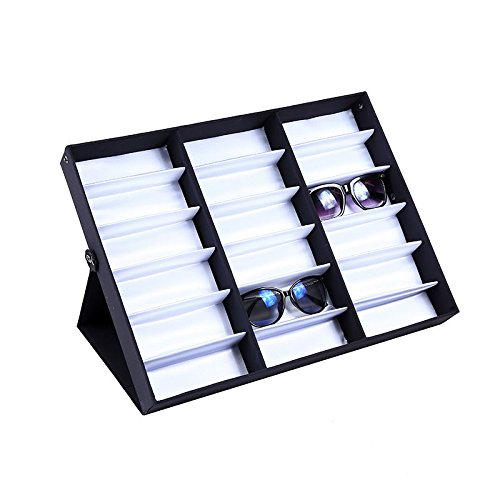 Eyeglass Sunglasses Glasses Storage Display Stand Case Box Holder 18 Grids - Where To Glasses Vintage Frames Buy