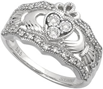 Solvar 14Kw Diamond Claddagh Ring, Size 5-10