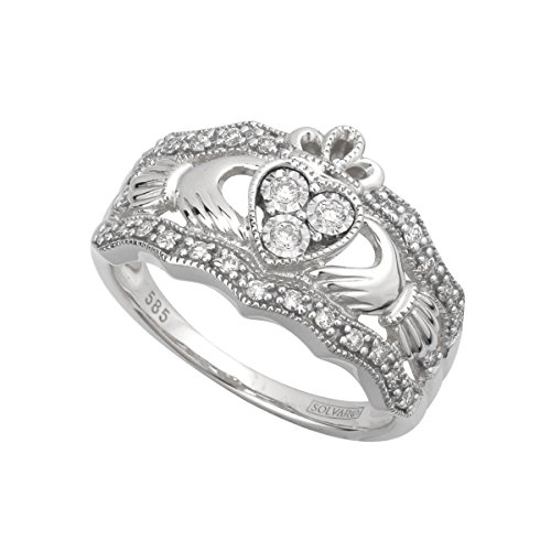 Solvar 14Kw Diamond Claddagh Ring, Size 8.5