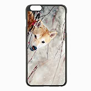iPhone 6 Plus Black Hardshell Case 5.5inch - dogs snow branch eye wind Desin Images Protector Back Cover