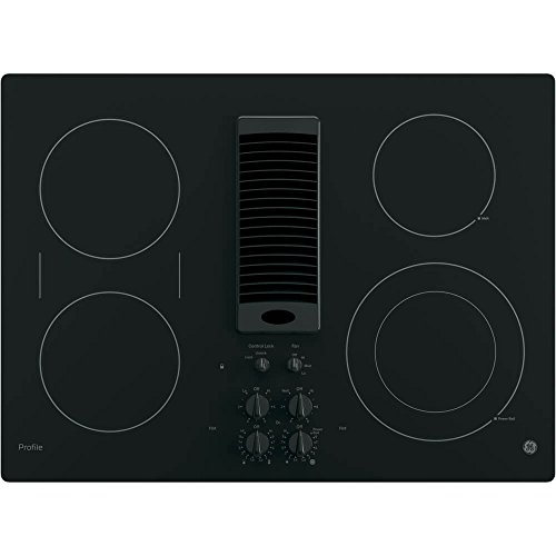 (GE PP9830DJBB 30 Inch Smoothtop Electric Cooktop with 4 Burners, 3-Speed Downdraft Exhaust System, 9