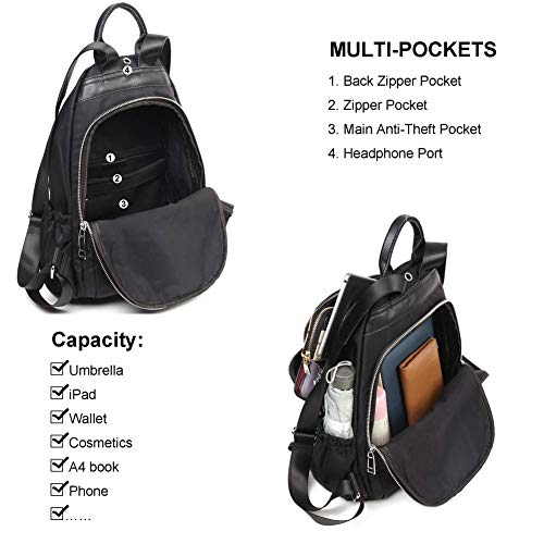 Black Anti Luckysmile Bag Women Shoulder Daypack Nylon Waterproof Purse Backpack theft qXwxvTOFX