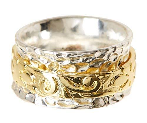 Gemaholique Floral Pattern Two Tone Hammered 18k Gold Clad Wholesale Meditation Spinner Ring (10)