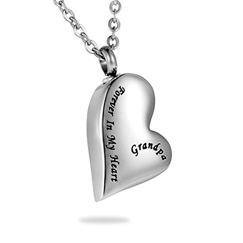 HooAMI Grandpa Forever in My Heart Cremation Urn Necklace