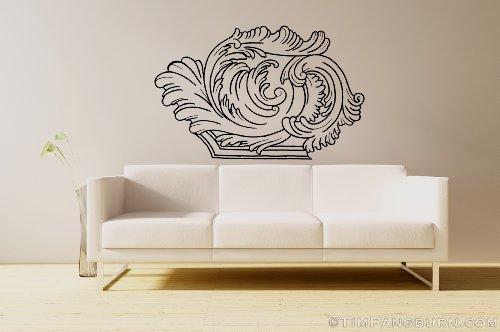 Fancy Filigree 2 Corner Border Design Vinyl 30 inch Wall Decal Home Decor Pattern Avante Garde Scroll Feathers Floral