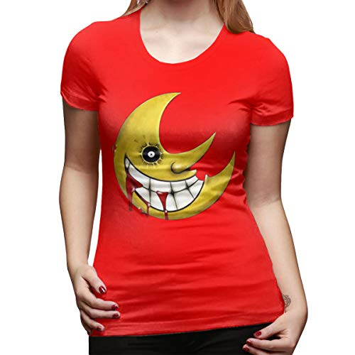 Arilce Basic T Shirt Soul-Eater-Moon Tees Short Sleeve Round Blouse Red L ()