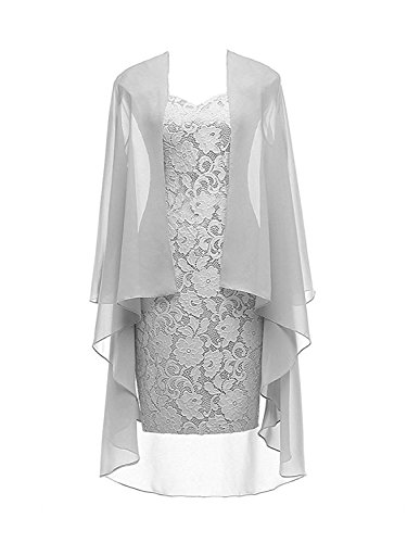 Column 3/4 Sleeves Lace Chiffon Short Wedding Mother Evening Dresses Formal Silver Size 10