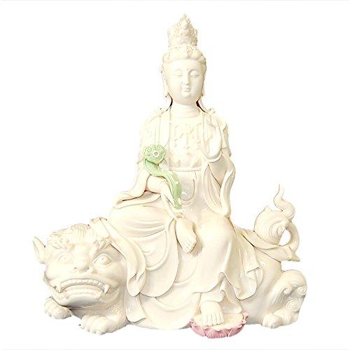 (Porcelain Quan Yin Sitting on Dragon Lion - Limited Quantities!)