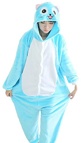 [SPJ : Kigurumi Full Body Suit Loungewear Pajamas Cosplay Costume Cute Blue Cat (M)] (Chipmunk Squirrel Costume Party)