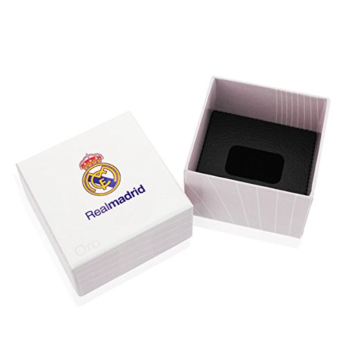Pendientes niña mujer Real Madrid C.F. oro blanco 9 ktes lisos 11 x 8 mm presión