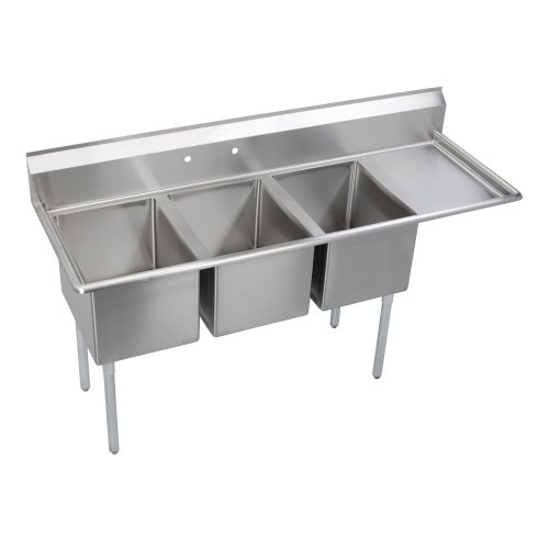 8in Drainboards - Elkay Foodservice 3 Compartment Sink, 72.5