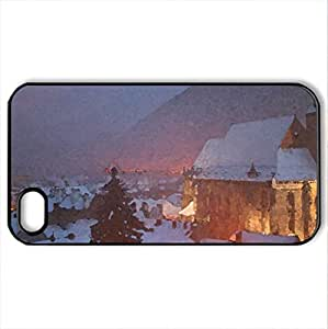 black church - Case Cover for iPhone 4 and 4s (Religious Series, Watercolor style, Black)