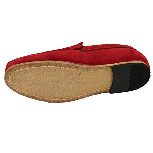Gio barco para mocasines de por zapatos los en rojo gamuza Mocasines del Gino Mira resbalones hombre OqFPFxwf