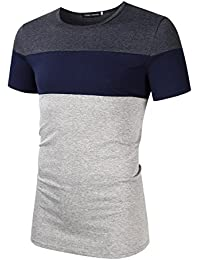 Men's Casual Cotton Tops Striped Stitch Crew Neck Short Sleeve T Shirts