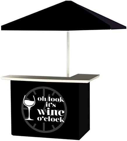 Best of Times 2001W2513 WINE O CLOCK Portable Bar and 6 Square Market Umbrella Black, White