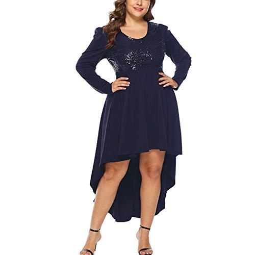 - Onefa Womens Dresses Women's Elegant O Neck Loose Plus Size Dress Sequin Long Sleeve High Waist Dovetail Party Mini Dress