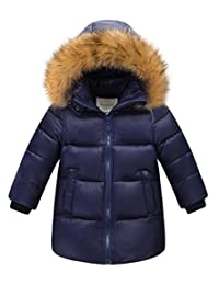La Vogue Kids Boys Winter Parka White Duck Down Coat Jacket with Fur Hood