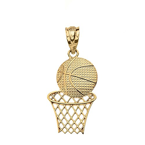 - Textured 14k Yellow Gold Sports Charm Basketball Hoop Pendant