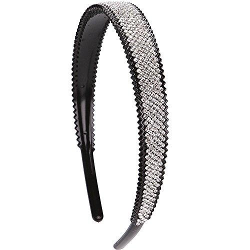 LONEEDY 2cm Wide Full Rhinestone and Crystal Teeth Comb Headbands For Women, 2cm Non-slip Hard Headbands (Silver)