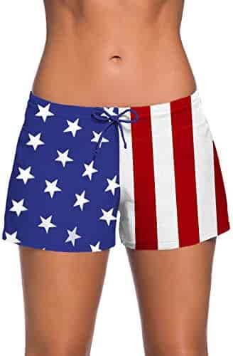 a8d17ea407 Aleumdr Womens Side Split Waistband Swim Shorts with Panty Liner Plus Size  S - 3XL