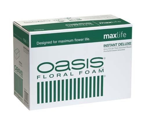 Large Oasis - Oasis Instant Deluxe Floral Foam Bricks - Case of 48 - Maxlife Floral Foam - Wet Floral Foam Bricks for Flower Arranging