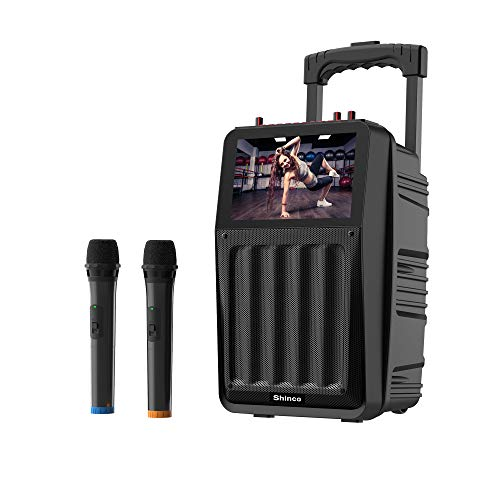 Shinco Karaoke Machine with 2 Microphone, 8'' LCD Screen, Lyrics Display, Record, Bluetooth and Remote Control
